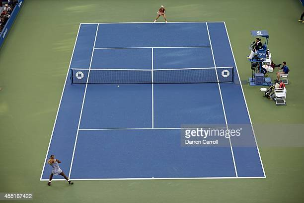 US Open Aerial view of USA Serena Williams in action vs Denmark Caroline Wozniacki during Women's Final at BJK National Tennis Center Flushing NY...