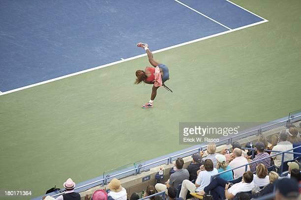 US Open Aerial view of USA Serena Williams victorious after winning Women's Final vs Belarus Victoria Azarneka at BJK National Tennis Center Flushing...