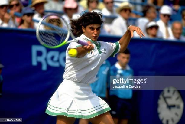 US Open Argentina Gabriela Sabatini in action during Women's Quarterfinals at USTA National Tennis Center Flushing NY CREDIT Jacqueline Duvoisin