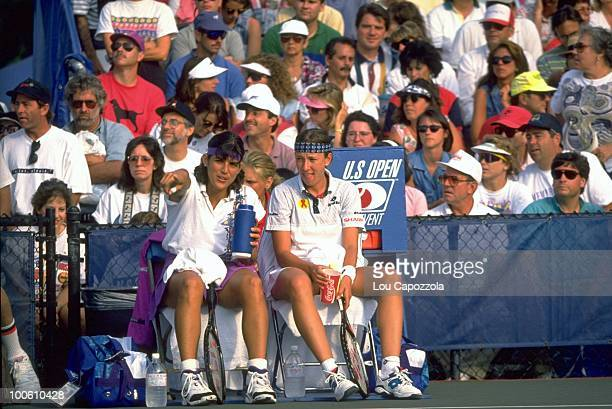 US Open Belarus Natalia Zvereva and Puerto Rico Gigi Fernandez during match at National Tennis Center Flushing NY 9/1/1994 CREDIT Lou Capozzola