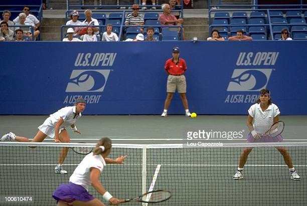 Belarus Natalia Zvereva and Puerto Rico Gigi Fernandez in action during match at National Tennis Center. Flushing, NY 9/10/1994 CREDIT: Lou Capozzola