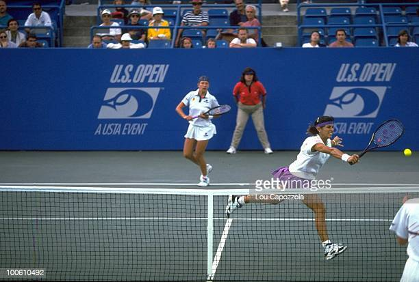 US Open Belarus Natalia Zvereva and Puerto Rico Gigi Fernandez in action during match at National Tennis Center Flushing NY 9/10/1994 CREDIT Lou...