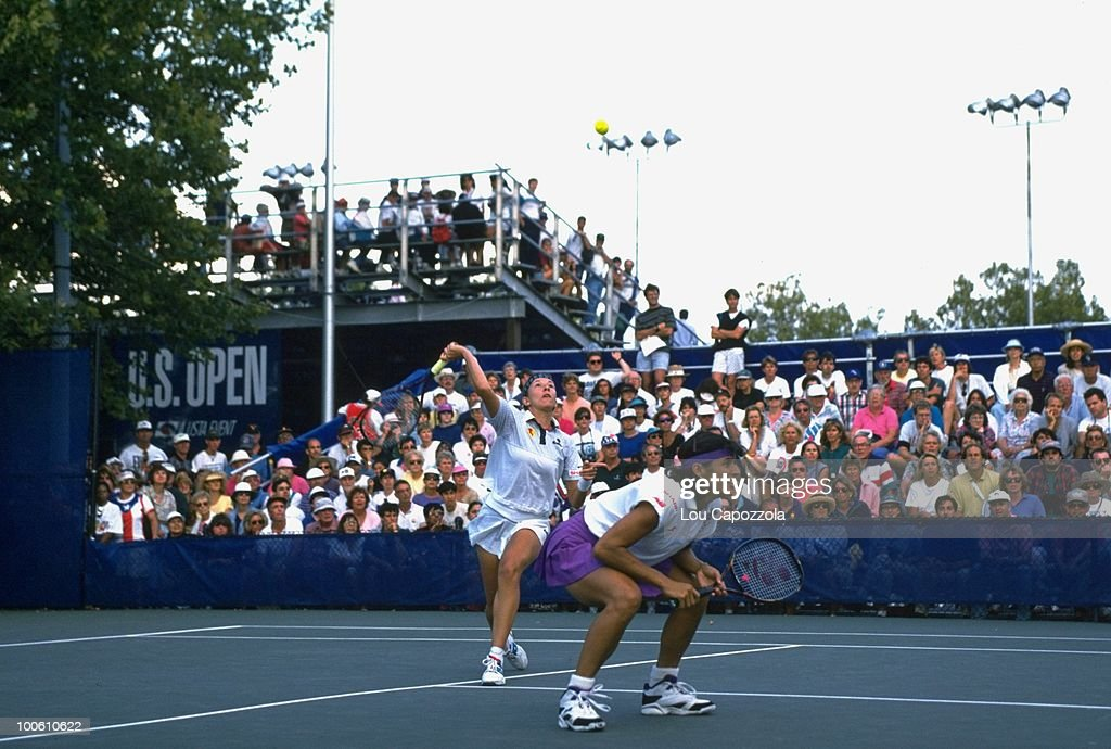 Belarus Natalia Zvereva and Puerto Rico Gigi Fernandez (pink skirt) in action during match at National Tennis Center. Flushing, NY 9/10/1994