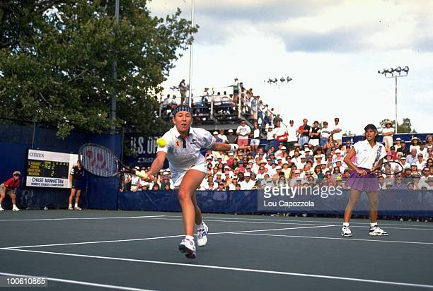 US Open Belarus Natalia Zvereva and Puerto Rico Gigi Fernandez in action during match at National Tennis Center Flushing NY 9/1/1994 CREDIT Lou...