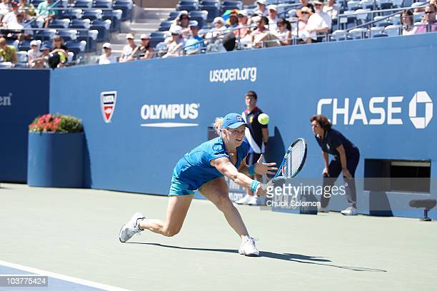 US Open Belgium Kim Clijsters in action vs Hungary Greta Arn during Women's 1st Round at BJK National Tennis Center in the Flushing neighborhood of...