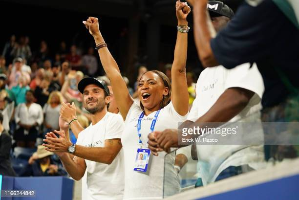 US Open Candi Gauff mother of USA Cori Coco Gauff victorious in stands during Women's 2nd Round match vs Hungary Timea Babos at BJK National Tennis...