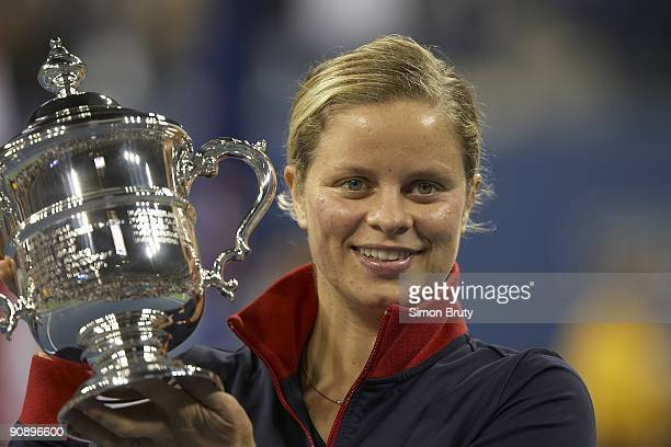 US Open Closeup of Belgium Kim Clijsters victorious with winner's trophy after winning Women's Final vs Denmark Caroline Wozniacki at National Tennis...
