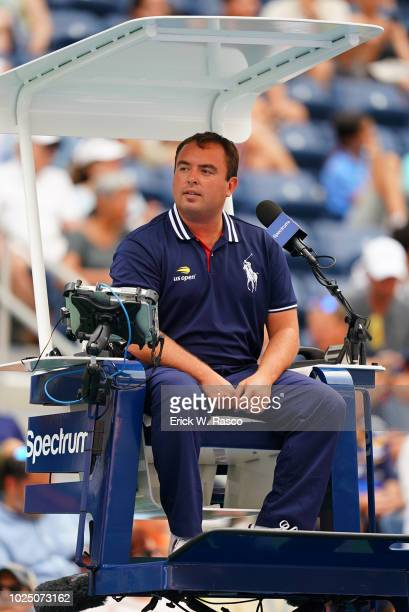 US Open Closeup of line judge seated alongside court during Great Britain Andy Murray vs Australia James Duckworth Men's 1st Round match at BJK...
