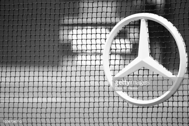 Closeup of Mercedes Benz logo on net during Men's 3rd Round match between Spain Raphael Nadal and Russia Karen Khachanov at BJK National Tennis...
