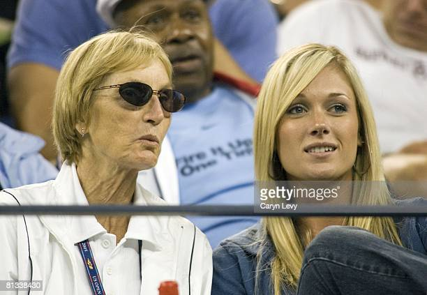 Tennis US Open Closeup of mother Betty and girlfriend Jennifer Scholle of USA James Blake watching quarterfinals vs USA Andre Agassi at National...