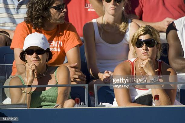 Tennis US Open Closeup of mother Lynettee Federer and girlfriend Miroslava Vavrinec of Switzerland Roger Federer in stands during 4th round match vs...
