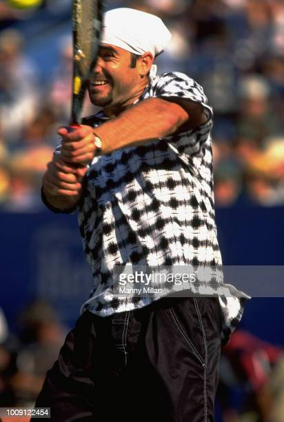 US Open Closeup of USA Andre Agassi in action during Men's Third Round at USTA National Tennis Center Flushing NY CREDIT Manny Millan