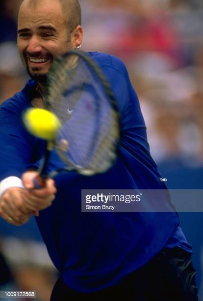 US Open Closeup of USA Andre Agassi in action during Men's Quarterfinals at USTA National Tennis Center Flushing NY CREDIT Simon Bruty