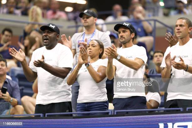 US Open Corey and Candi Gauff parents of USA Cori Coco Gauff in stands with coach JeanChristophe Faurel during Women's 3rd Round match vs Japan Naomi...