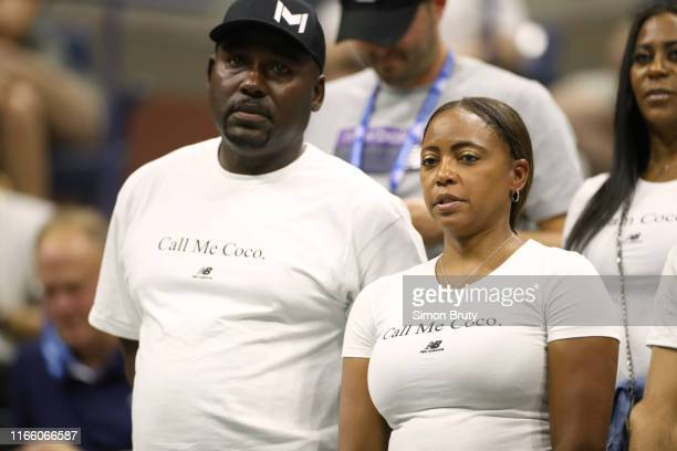 US Open Corey and Candi Gauff parents of USA Cori Coco Gauff in stands during Women's 3rd Round match vs Japan Naomi Osaka at BJK National Tennis...