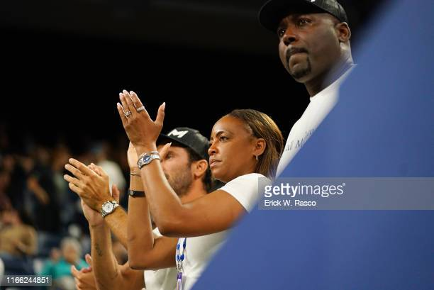 US Open Corey and Candi Gauff parents of USA Cori Coco Gauff in stands during Women's 2nd Round match vs Hungary Timea Babos at BJK National Tennis...