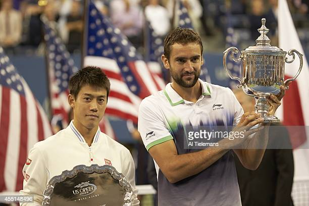 US Open Croatia Marin Cilic victorious with US Open Trophy and Japan Kei Nishikori with runnerup trophy after Men's Final at BJK National Tennis...