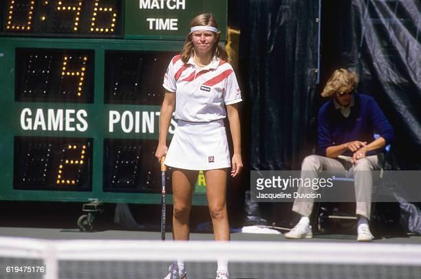 US Open Czechoslovakia Hana Mandlíkova during Women's Singles Quarterfinals vs Canada Carling Bassett at USTA National Tennis Center Flushing NY...