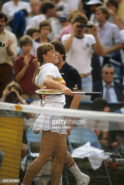 US Open Czechoslovakia Martina Navratilova victorious after winning match vs USA Chris Evert Lloyd during Women's Semifinals at USTA National Tennis...