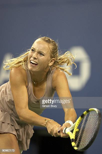 US Open Denmark Caroline Wozniacki in action vs Belgium Kim Clijsters during Women's Final at National Tennis Center Flushing NY 9/13/2009 CREDIT...
