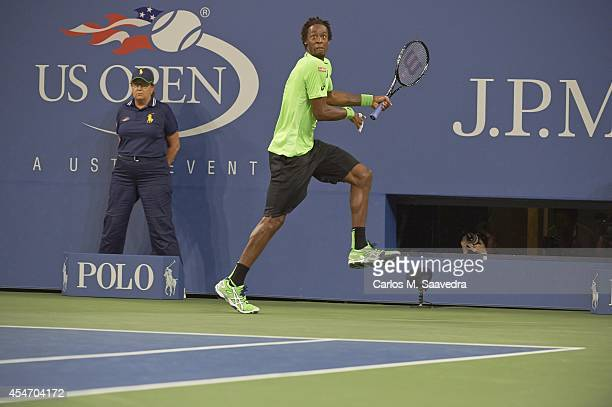 US Open France Gael Monfils in action vs Switzerland Roger Federer during Men's Quarterfinals match at BJK National Tennis Center Flushing NY CREDIT...