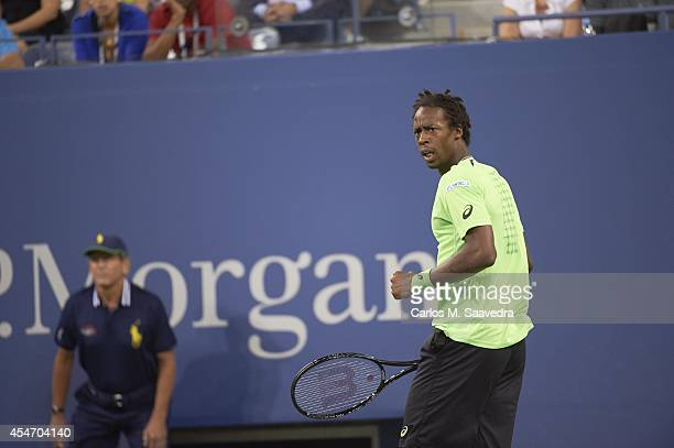 US Open France Gael Monfils reacts during Men's Quarterfinals match vs Switzerland Roger Federer at BJK National Tennis Center Flushing NY CREDIT...