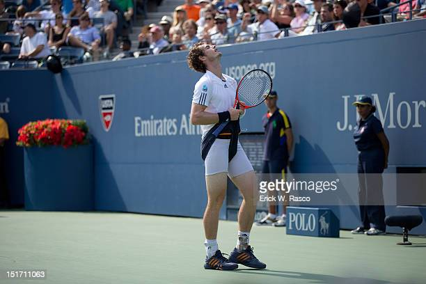 US Open Great Britain Andy Murray upset pulling up his shorts during Men's Semifinals match vs Czech Republic Tomas Berdych at BJK National Tennis...