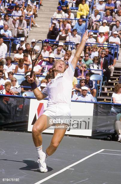 Great Britain John Lloyd in action, serving vs USA Jimmy Connors during Men's Quarterfinals at USTA National Tennis Center. Flushing, NY 9/7/1984...