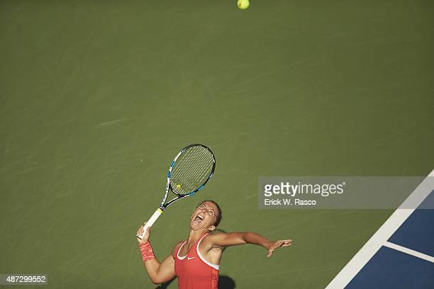 US Open Italy Sara Errani in action serve vs Australia Samantha Stosur during Women's 3rd Round match at BJK National Tennis Center Sequence Flushing...