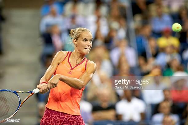 US Open Netherlands Arantxa Rus in action vs Denmark Caroline Wozniacki during Women's 2nd Round at BJK National Tennis Center Flushing NY CREDIT...