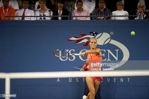 US Open Netherlands Arantxa Rus in action vs Denmark Caroline Wozniacki during Women's 2nd Round at BJK National Tennis Center Flushing NY CREDIT...