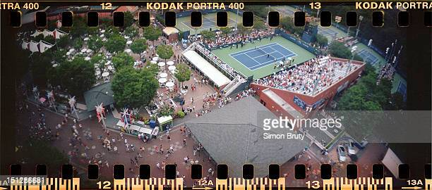 US Open Panoramic aerial view of courts taken from Arthur Ashe Stadium during 1st Round at BJK National Tennis Center Photographer used a Lomography...