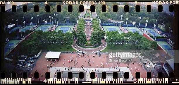 US Open Panoramic aerial view of South Plaza taken from Arthur Ashe Stadium during 1st Round at BJK National Tennis Center Photographer used a...