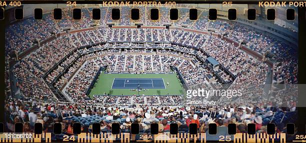US Open Panoramic overall view of Arthur Ashe Stadium during 1st Round at BJK National Tennis Center Photographer used a Lomography Sprocket Rocket...
