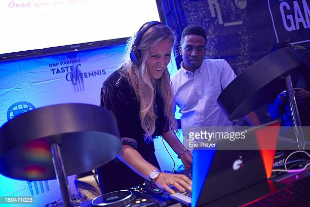 US Open Preview Portrait of Victoria Azarenka of Belarus behind DJ booth during BNP Paribas Taste of Tennis party at W New York Hotel New York NY...