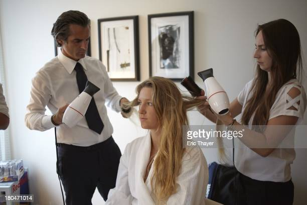 US Open Preview Portrait of Victoria Azarenka of Belarus having her hair done by Julien Farel Salon stylists at Langham Place Hotel New York NY...