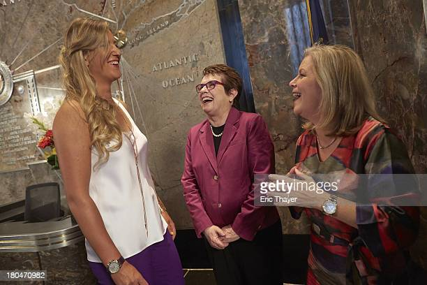 US Open Preview Portrait of Victoria Azarenka of Belarus with Billie Jean King light the switch to celebrate the 40th anniversary of the WTA at...