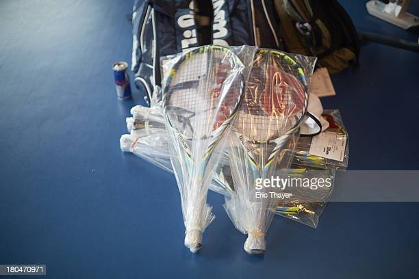 US Open Preview View of tennis rackets of Victoria Azarenka of Belarus as she prepares for tournament before practice at BJK National Tennis Center...