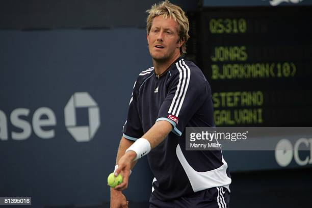 Tennis US Open Qualifier Closeup of SWE Jonas Bjorkman in action making serve during qualifying match vs Italy Stefano Galvani at National Tennis...