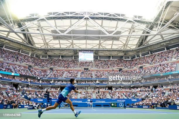 Rear view of Serbia Novak Djokovic in action vs Russia Daniil Medvedev during Men's Final at Arthur Ashe Stadium. Flushing, NY 9/12/2021 CREDIT:...