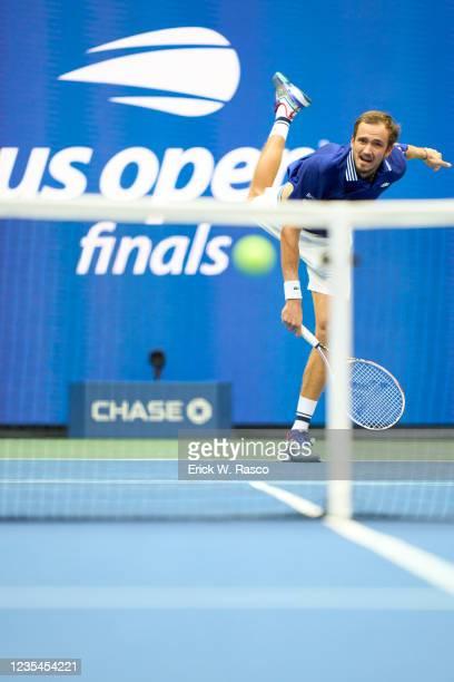 Russia Daniil Medvedev in action, serving vs Serbia Novak Djokovic during Men's Final at Arthur Ashe Stadium. Flushing, NY 9/12/2021 CREDIT: Erick W....