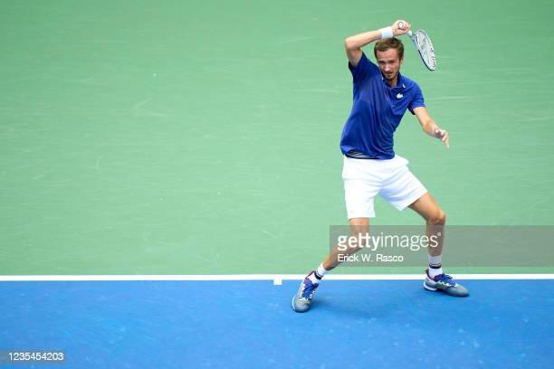 Russia Daniil Medvedev in action vs Serbia Novak Djokovic during Men's Final at Arthur Ashe Stadium. Flushing, NY 9/12/2021 CREDIT: Erick W. Rasco