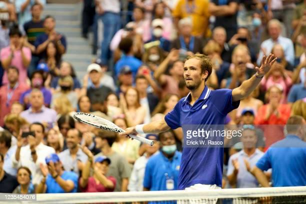 Russia Daniil Medvedev victorious during Men's Final vs Serbia Novak Djokovic at Arthur Ashe Stadium. Flushing, NY 9/12/2021 CREDIT: Erick W. Rasco