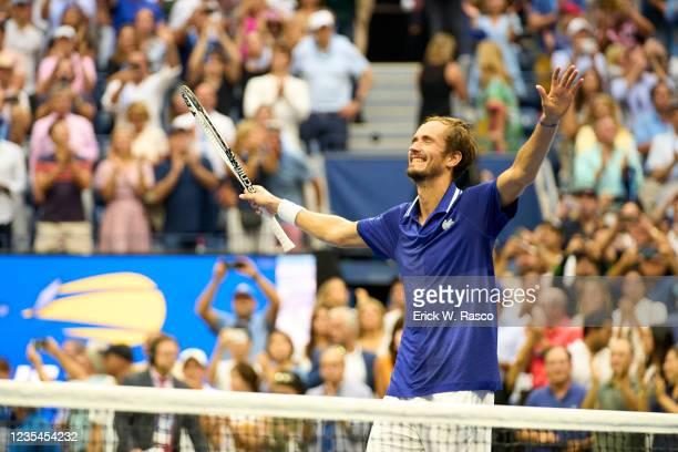 Russia Daniil Medvedev victorious during Men's Final vs iSerbia Novak Djokovic at Arthur Ashe Stadium. Flushing, NY 9/12/2021 CREDIT: Erick W. Rasco