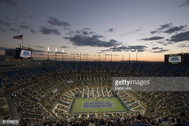 Tennis US Open Scenic view of sunset at Arthur Ashe Stadium during 2nd round match at National Tennis Center Flushing NY 9/11/2005