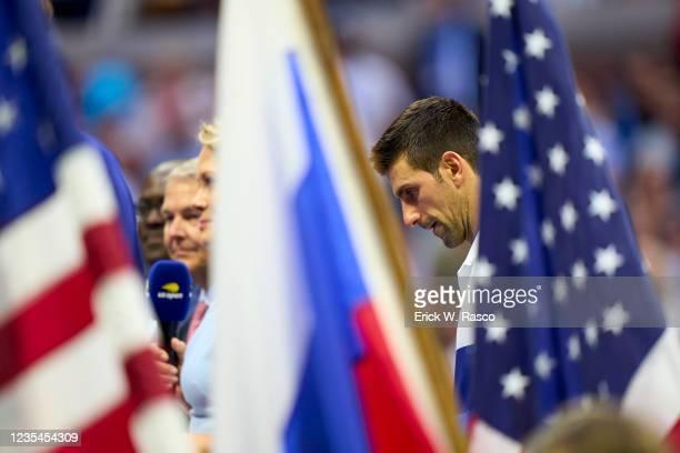 Serbia Novak Djokovic after Men's Final vs Russia Daniil Medvedev at Arthur Ashe Stadium. Flushing, NY 9/12/2021 CREDIT: Erick W. Rasco