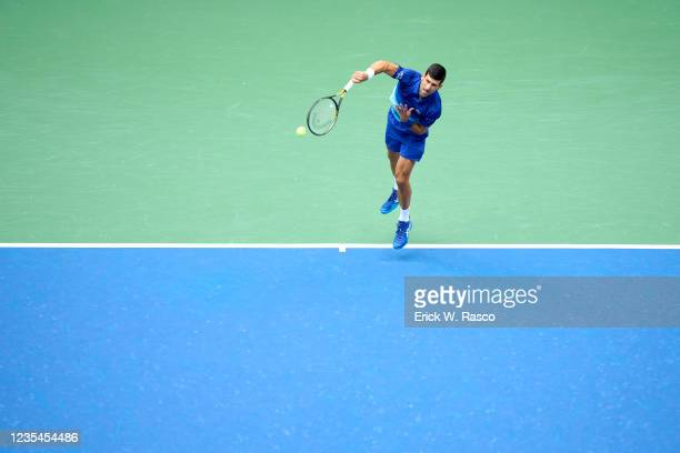 Serbia Novak Djokovic in action, serving vs Russia Daniil Medvedev during Men's Final at Arthur Ashe Stadium. Flushing, NY 9/12/2021 CREDIT: Erick W....