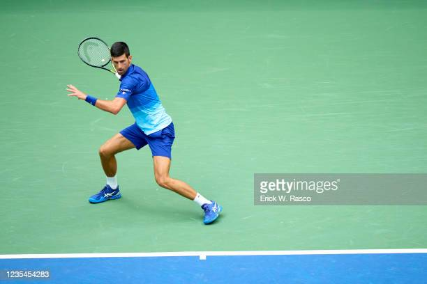 Serbia Novak Djokovic in action vs Russia Daniil Medvedev during Men's Final at Arthur Ashe Stadium. Flushing, NY 9/12/2021 CREDIT: Erick W. Rasco