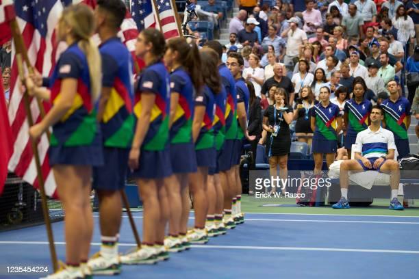 Serbia Novak Djokovic on bench before Men's Final vs Russia Daniil Medvedev at Arthur Ashe Stadium. Flushing, NY 9/12/2021 CREDIT: Erick W. Rasco