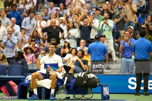 Serbia Novak Djokovic victorious on bench before Men's Final vs Russia Daniil Medvedev at Arthur Ashe Stadium. Flushing, NY 9/12/2021 CREDIT: Erick...